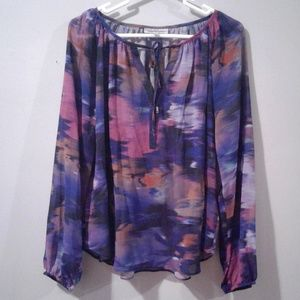 Jennifer Lopez Watercolor Peasant Blouse
